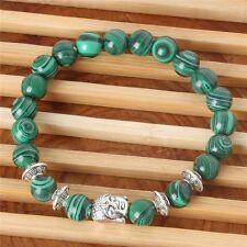 Natural Malachite Stone Beads Bangle Sliver Buddha Energy Stone Yoga Bracelet NI