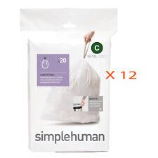 240 (12 packs x 20) Simplehuman Code C (10-12 litres) Bin Sac Doublure, CW0162