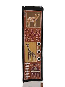 Tribal Textiles hand painted wall hanging 55x15.75 African safari giraffe hyena