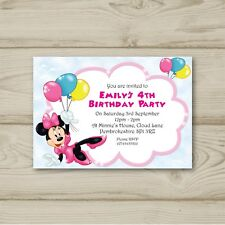 Disney Minnie Mouse Birthday Party Invitations Personalised
