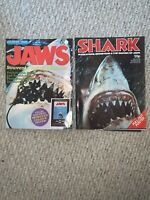 TWO Jaws SOUVENIR POSTER MAGAZINE 1975 Spielberg Shark WITH PULL OUT POSTERS