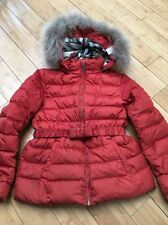 Burberry Girls Fox Fur-Trimmed Bow-Belt Puffer Coat Bright Russet Orange Sz 12Y!