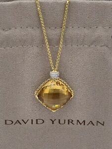 AUTHENTIC David Yurman RARE 18K 26 MM Citrine crystal & Diamond Pendant Necklace