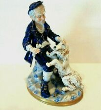 CAPODIMONTE ITALIAN PORCELAIN FIGURINE OLD MAN WITH DOG FETCHING NEWSPAPER VTG