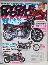 Cycle World Magazine October 1992 Kawasaki ZR1100 Laverda 650 Harley Davidson