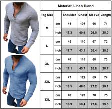 Herren Langarm V-Ausschnitt Muskelshirt T-shirt Baumwolle Leinen Tops Bluse Hemd