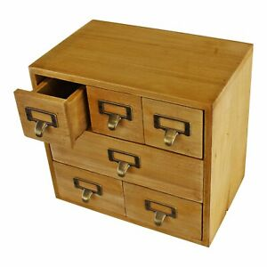 Desktop Chest of Drawers Wooden Apothecary Cabinet Label Space Small Trinket UK