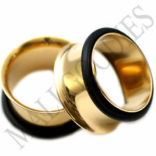 "0859 Gold Single Flare Flesh Tunnels Earlets Big Gauges 11/16"" Plugs 18mm PAIR"