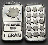 1 GRAM PURE 999 FINE SOLID SILVER CANADIAN MAPLE LEAF BULLION BAR INGOT GIFT UK