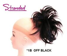 HAIR PIECE STYLED CLAMP EXTENSION CLAW CLIP INSTANT UPDO LAYERED OFF BLACK *1B