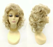 Curly Layered Wig Bangs Big Loose Curls Dark Light Blonde Mix Bad Sandy Grease