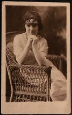 Studio Real Photo Postcard RPPC ~ Woman In Tiara & Long Gloves On Rattan Chair