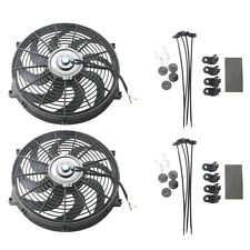 "2x 14"" inch Universal Slim Fan Push Pull Electric Radiator Cooling 12V Mount Kit"