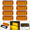 Universal 8pcs 8 LED Amber Side Marker Light Lamp Car Truck Trailer Waterproof