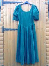 Vintage Laura Ashley BallGown Velvet Green Christmas Edwardian Medieval Dress 12
