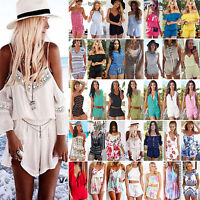 Womens Holiday Mini Playsuit Celeb Holiday Jumpsuit Casual Summer Beach Sundress