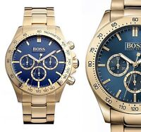 Original Hugo Boss HB1513340 Ikon Chrono Herrenuhr Farbe:Gold/Blau NEU!