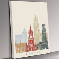 Bruges Skyline  Canvas Wall Art Picture Print