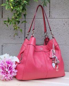 Coach 57545 STRAWBERRY PINK Leather lexy shoulder hobo purse handbag  bag EUC