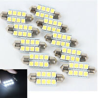 10X 5050 41mm 8SMD Car Interior Dome Festoon LED Light Bulbs Lamp DC12V _ti