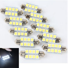 10X 5050 41mm 8SMD Car Interior Dome Festoon LED Light Bulbs Lamp DC12V E&!