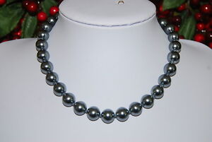 BEAUTIFUL STATEMENT STRAND NECKLACE OF GREY GLASS FAUX PEARLS SILVER TONED CLASP