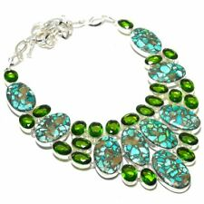 """Copper Turquoise, Peridot Gemstone 925 Sterling Silver Jewelry Necklace 18"""""""