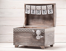 Big Wedding Card Box Holder with Burlap and Lace Cards Banner Rustic Card Box
