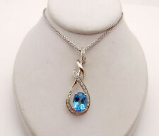 Pendant with Diamond Accent Chain Necklace Beautiful 14k White Gold Blue Topaz