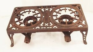 Vtg antique cast iron Griswold no.1002 2 burner gas camping stove grill