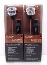 2 Taylor Gourmet Digital Wine Thermometer Stainless Steel Stem Temp Guide NEW