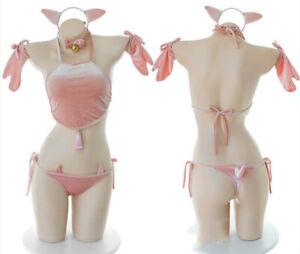 US Lady Lolita Pig Cosplay Costumes Uniform Set Three-point Sexy Lingerie New