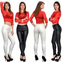 Damen High Waist Jeans Hose Röhrenjeans Damen Jeanshose Skinny Leder Optik H790