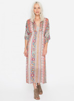 💕NWT JOHNNY WAS Scarf Print OXILUS KIMONO DRESS w Slip V Neck Midi L $378 💕