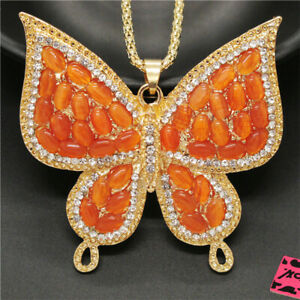 New  Betsey Johnson Orange Opal Cute Butterfly Crystal Pendant Chain Necklace
