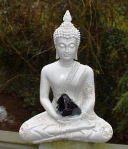 Large Shabby Chic Meditation Buddha With Natural Unique Black Obsidian Crystal