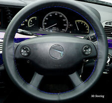 FOR MERCEDES E CLASS W212 09-15 TRUE BLACK LEATHER STEERING WHEEL COVER BLUE ST
