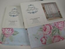 Simply Shabby Chic Blue Voile Pink Cabbage Rose Floral Panels Drapes - Pair