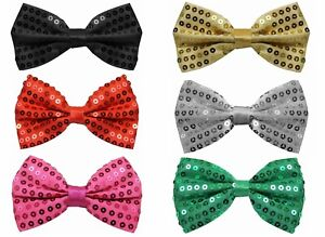 SEQUINED SEQUINN BOW TIE FANCY DRESS ACCESSORY VARIOUS COLOURS