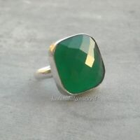 Solid 925 Sterling Silver Green Onyx Gemstone Ring.Jewelry.All US SIZE