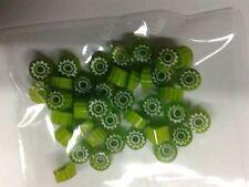 10 grammi murrine in foto di murano glass millefiori verdi verde misura 6-7 mm