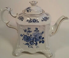 Crown Dorset Large Blue Rose onWhite Duchess English Bone China Teapot Gold Trim