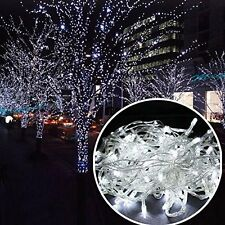 COOL WHITE 100 LED Twinkle Fairy Light String 8 Modes Tail Plug Christmas Decor
