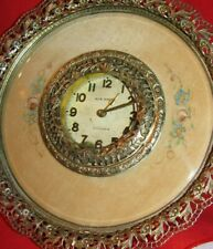 ANTIQUE CLOCK - NEW HEVEN  MANUAL / WIND UP, GOLD PLATED  BEAUTIFUL DOUBLE