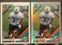 🔥🔥2019 OPTIC MYLES GASKIN SILVER HOLO PRIZM Refractor ROOKIE RC Dolphins LOT 2