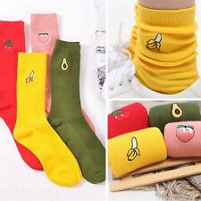 Women 1 Pair 3D Fruit Cartoon Embroidery Lovely Soft Cotton High Socks Hosiery