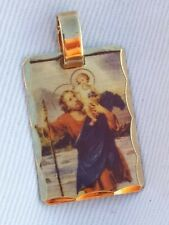 Saint CHRISTOPHER WITH BABY JESUS Gold gp Plated Laser Charm Pendant 23 mm