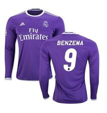 Nouveau authentique adidas real madrid 2016/17 away l/s shirt benzema 9 jr xl 13-14