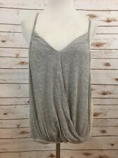 FREE PEOPLE Gray Draped T Back Tank Top Sz M $88 *3639