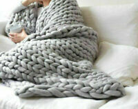 GREY Knitted Blankets Warm Soft Chunky Thick Yarn Wool Bulky Throws Small Large